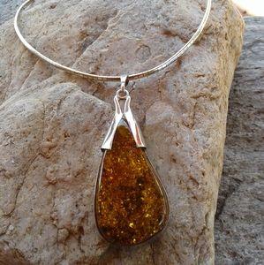 Sterling Silver Amber HUGE pendant necklace